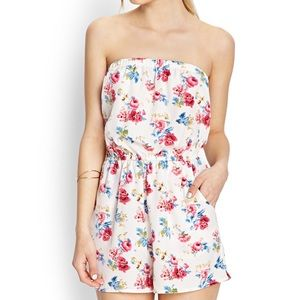 Forever 21 Floral Strapless Romper With Pockets